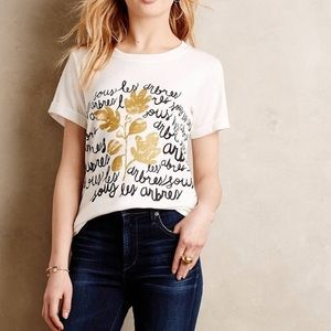 Anthropologie Linda And Harriet Gold Accent Top